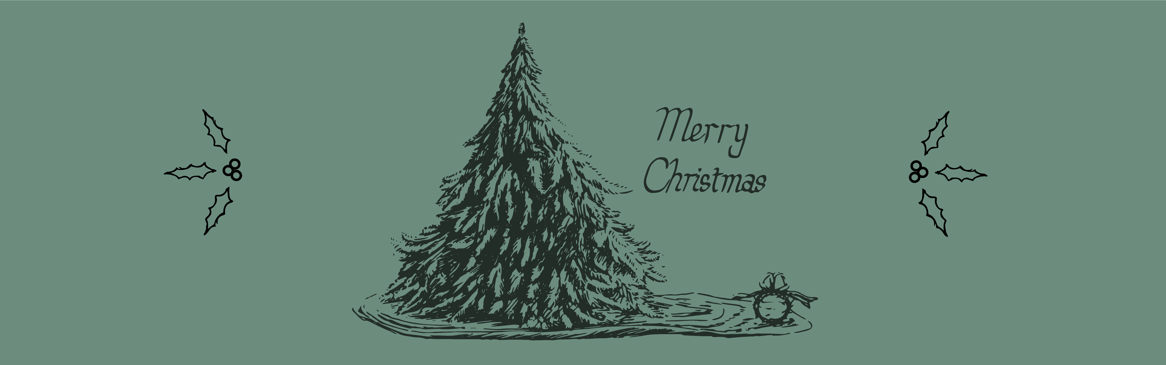 """drawing of Christmas tree and crown of thorns with bow on top on evergreen background with the words """"Merry Christmas"""" centered"""
