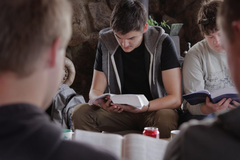 Young men in a Bible Study group